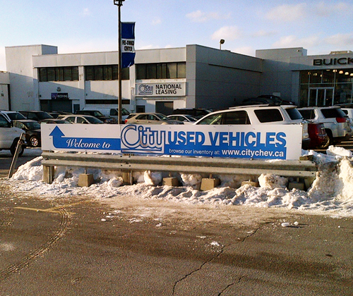 City Chev Used Vehicles Sign